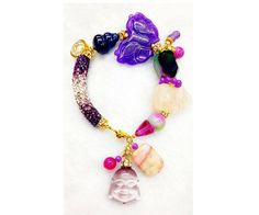 Love, Happiness and Success Bracelet Charm | Made of Amber, Rose Quartz, Pink Opal, Cat's Eye, Multi Color Agate & Swarovski