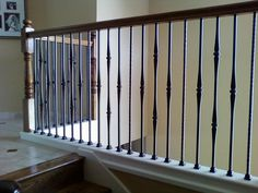 Newest Totally Free Wrought Iron balusters Ideas Residence designing using wrought iron is really as robust these days since the wrought iron precious metal it. Wood Stair Handrail, Iron Stair Balusters, Wrought Iron Spindles, Wrought Iron Staircase, Interior Staircase, Staircase Remodel, Staircase Makeover, Staircase Railings, Staircase Design