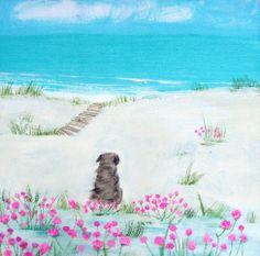 Sea Pinks (HC91F) Beach & Coastal Print by Hannah Cole http://www.thewhistlefish.com/product/sea-pinks-framed-by-hannah-cole-hc91f