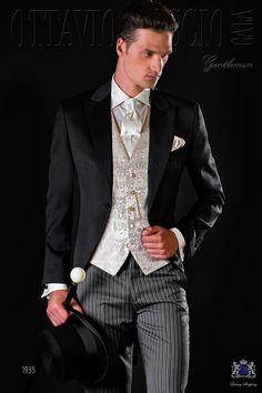 LONGTA Mens 3 Piece Tuxedo One Button Dress Suits Jacquard Wedding Formal Wear Trouser