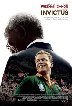Invictus -- The inspiring true story of how Nelson Mandela (Morgan Freeman) joined forces with the captain of South Africas rugby team, Francois Pienaar (Matt Damon), to help unite their country. Matt Damon, Nelson Mandela, Clint Eastwood, Eastwood Movies, Alfred Hitchcock, Great Films, Good Movies, Awesome Movies, Movie Posters