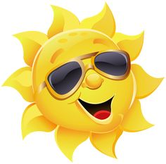 Sun with Sunglasses PNG Clipart Image