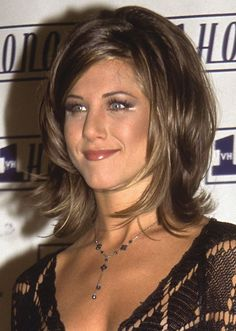 20 of Jennifer Aniston's Most Iconic Hairstyles - the rachel haircut long -My hairstyle now is like this. Totally unintentional.just tagged along with b to bench fix last weekend, told stylist something layered that frames, with bangs. Thats the major diff Lang - I got bangs.