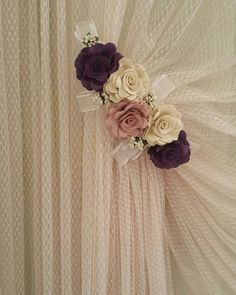 Living Room Decor Curtains, Living Room Sofa Design, Home Curtains, Navy Curtains, Modern Curtains, Curtains With Blinds, Fabric Flower Tutorial, Fabric Flowers, Kitchen Curtain Designs