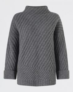Diagonal Rib Sweater - Sweaters - Womens