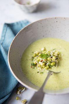 Creamy curried broccoli soup with Coriander marinated mung bean sprouts :: Sonja Dahlgren/Dagmar's Kitchen
