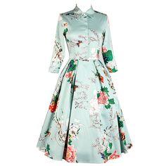 Piste automne 2016 automne vêtements perles pivoine fleur imprimer femmes robes col rond manches trois-quarts mi-mollet robes