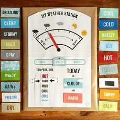 HalliHallo!     Am 14. Juni  habe ich ja von der Weather Station von Mr. Printables berichtet. So! Ich habe sie nun endlich heute gebastelt...