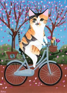 Earth Day Bicycle Cat Original Cat Folk Art Painting by KilkennyCat Art Memes Arte, Cats Diy, Ryan Conner, Cat Cards, Cat Photography, Cat Drawing, Cat Memes, Animal Drawings, Crazy Cats
