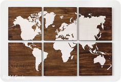World Map Large Painting on Walnut Wood Panels  by RightGrain, $235.00