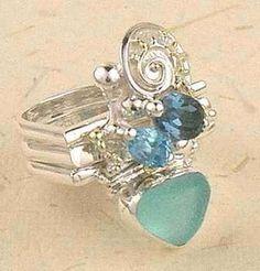 stack ring, sterling silver, 14 karat gold, blue sea glass, blue topaz.jpg (336×351)