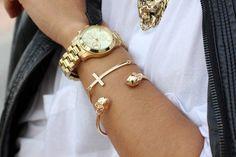Kayla Danielle: gold  #Lockerz love the skull bracelet