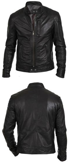 Men Coats And Jackets: Mens Leather Jacket Black Slim Fit Biker Motorcycle Genuine Lambskin Jacket BUY IT NOW ONLY: $99.99