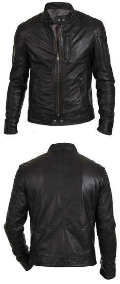 Men Coats And Jackets: Mens Leather Jacket Black Slim Fit Biker Motorcycle Genuine Lambskin Jacket BUY IT NOW ONLY: $99.99