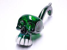 Green Skull Sherlock Glass Pipe made by Kravin Glass www.KravinGlass.com