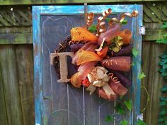 Fall Autum monogrammed deco mesh pumpkin wreath by CLMahler, $65.00