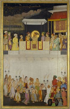 Shah-Jahan honouring Prince Dara-Shikoh at his wedding February Mughal Miniature Paintings, Mughal Paintings, Islamic Paintings, Indian Traditional Paintings, The Royal Collection, Mughal Empire, India Art, Ancient Art, Islamic Art