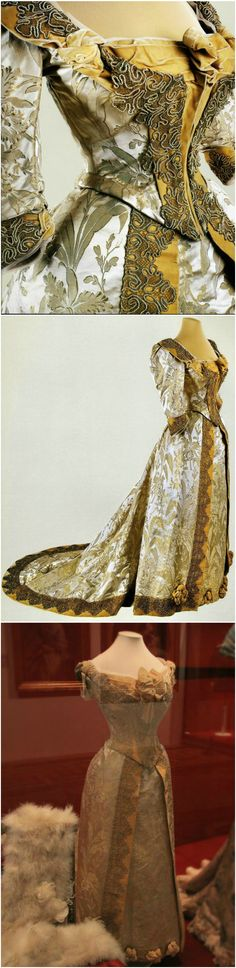 Cream brocade ball dress with orchid pattern; two bodices. Belonged to the Empress Maria Feodorovna. Designed by Morin-Blossier, Paris. 1892-1893. State Hermitage Museum, St. Petersburg.