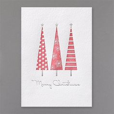 Trees of Red - Holiday Card Hint at nostalgia. A trio of patterned, geometric trees stand tall on this exceptional Merry Christmas greeting card featuring foil accents. Merry Christmas Greetings, Christmas Card Crafts, Homemade Christmas Cards, Christmas Greeting Cards, Homemade Cards, Handmade Christmas, Holiday Cards, Thanksgiving Crafts, Christmas Christmas