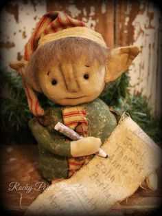 Primitive Christmas Santa's Little Elf Doll Making a List #Primitive #RockyPointPrimitives