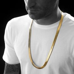 55e3b6f60781 Men s 10MM Gold Herringbone Chain