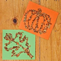Leaf Glitter | These dimensional drawings are made using leaves from your yard, lending them the subtle colors of late autumn. With a pencil, sketch a simple shape on card stock. A design with just a few lines and lots of space works best. Collect dry leaves in a bag and crush them into small pieces with your hands. Draw over the pencil lines with glue, then sprinkle on the leaf pieces. Let the glue dry, then gently tap the paper to remove any loose pieces.