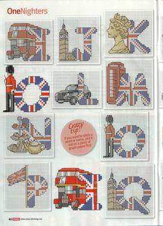 British uk cross stitch chart pattern alphabet 3 of 4 street party