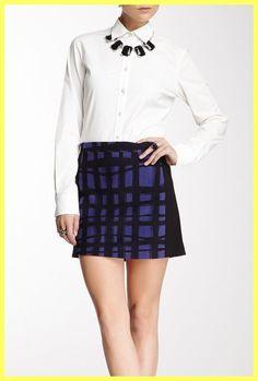 NWT $250 KELLY WEARSTLER EDIE PURPLE BLACK BRUSH STROKE MINI SKIRT Size 4 S #KellyWearstler #Mini