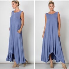 New Arrival • Chic two pocket maxi dress Gorgeous chambray blue maxi dress with side pocket details . Nwot . Very beautiful on with a simple yet elegant silouhette  . Maxi length great with sandals or heels . Dress it up or wear it casually . Rayon and spandex blend . Vivacouture Dresses