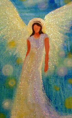 Original Acrylic ANGEL Painting Healing Energy by BrydenArt
