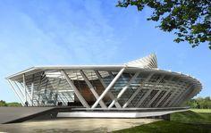 Mahidol Auditorium by Architects 49 in Nakhon Pathom, Thailand. Auditorium Architecture, Auditorium Design, Facade Architecture, Auditorium Plan, Concept Models Architecture, Futuristic Architecture, Contemporary Architecture, Facade Design, Exterior Design