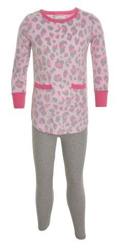 St Eve Girls 2 Piece Pajama Set Fleece 8 Leggings Long Sleeve Elastic Waist NEW