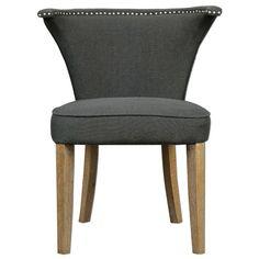 """Uttermost 23254 Dasen 33"""" x 26"""" Side Chair Dark Grey Linen Furniture Seating Side Chairs"""