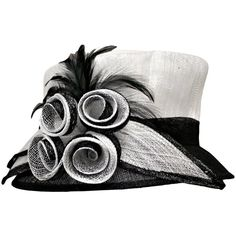 Luxury Divas Black & White Fancy Church Hat With Four Flowers &... ($85) ❤ liked on Polyvore