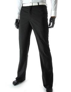 Business Slim Straight Fit Flat Front Dress Pants.