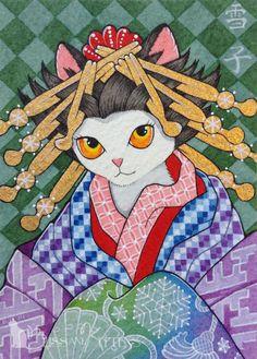 ACEO TW Dec Japanese Kimono Cat MOUSSART Ukiyoe winter snow kanzashi Obi geisha #Miniature by Brenda Saydak