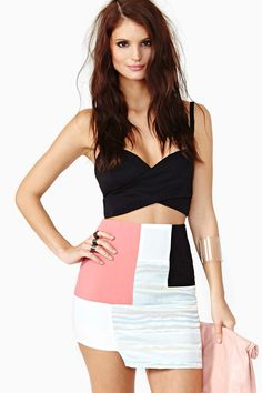 Color Collage Skirt & Black Criss Cross Crop Top