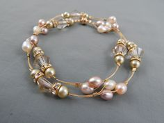 Vintage Estate 14k Gold Filled Wire Wrapped Freshwater Pearl Glass Bead Necklace