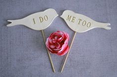 """""""I Do, Me Too"""" love birds cake topper. See the post at http://tulleandtwine.com/2013/9/23/etsys-best-cake-toppers"""