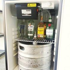 SIDEBAR Duo, Inside the kegerator, serves draft beer and 5 brands of liquor - all COLD! Diy Home Bar, Bars For Home, Verona, Beer Tower, Beer Fridge, Liquor Dispenser, Basement Bar Designs, Basement Ideas, Bar Faucets
