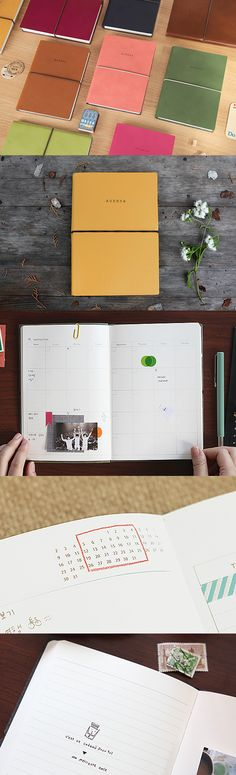 """Get more done with this beautiful large agenda scheduler. You can organize your time yearly, monthly, and weekly. This dateless planner allows you to create your own calendar from scratch and fill in the dates yourself..start whenever! Also includes 6 pages of world maps, 52 blank and lined pages for journaling, 10 pages of """"my favorite"""" lists, 4 pages of checklists, and a section for personal information. Comes in 6 adorable colors!"""