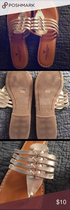 AE Sandals American Eagle gold sandals. Size 9. Only work once. American Eagle Outfitters Shoes Sandals