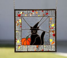 HALLOWEEN CAT-Stained Glass Window Panel, Black Cat & Witch Hat, Halloween, Fall #ContemporaryWhimsical