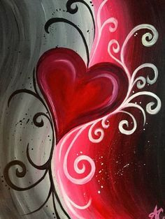 Abstract Heart, red, white and black withhart kuns  swirls. Beginner painting idea.