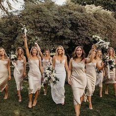 Slip Bridesmaids Dresses, Beige Bridesmaids, Champagne Bridesmaid Dresses, Bridesmaid Dress Colors, Bridesmaids And Groomsmen, Wedding Bridesmaids, Wedding Dresses, Groomsmen Outfits, Groomsman Attire