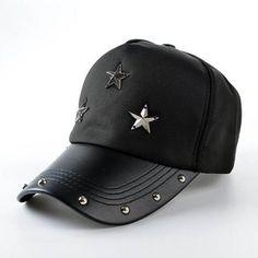 Black star studded baseball cap for men casual sports hip hop caps