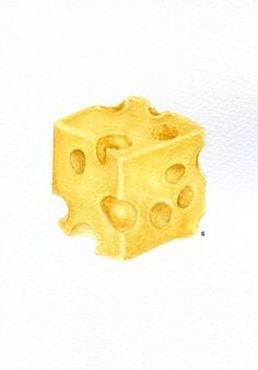 Watercolor Food, Watercolor Drawing, Watercolor Illustration, Cheese Drawing, Food Drawing, Polychromos, Kitchen Wall Art, Life Kitchen, Food Sketch