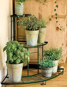 Quarter-round plant stand $65. Perfect for the corners of my balcony.