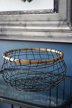 Wire Storage Basket with Wood - industrial - Storage Baskets - South East - Rockett St George