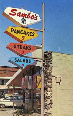 """Sambo's Restaurant """"A Sign of Plexiglas is a Sign of Distinction"""" by SwellMa… – Typical Miracle Vintage Neon Signs, Vintage Ads, My Childhood Memories, Great Memories, Old Advertisements, Advertising, Vintage Restaurant, Old Signs, Googie"""